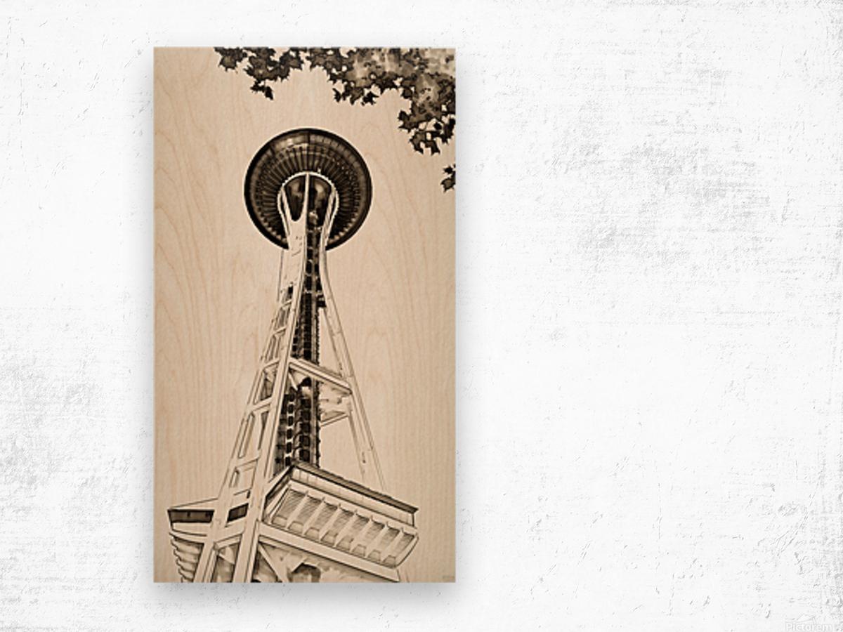 black white seattle space needle art Wood print