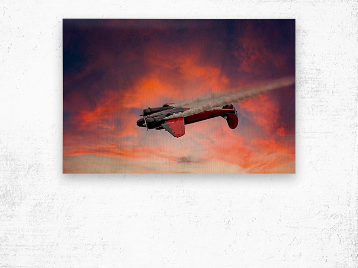 Beech B18 Inverted Flight Wood print