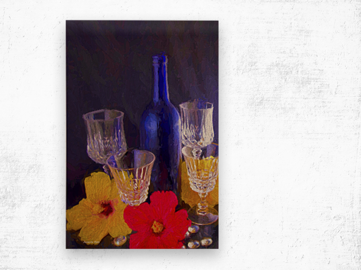 Painterly Blue Wine Bottle with four Crystal and Tropical Flowers Wood print
