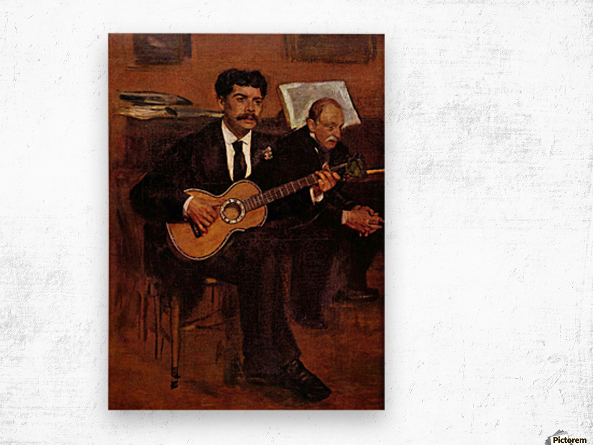 The guitarist Pagans and Monsieur Degas by Degas Wood print
