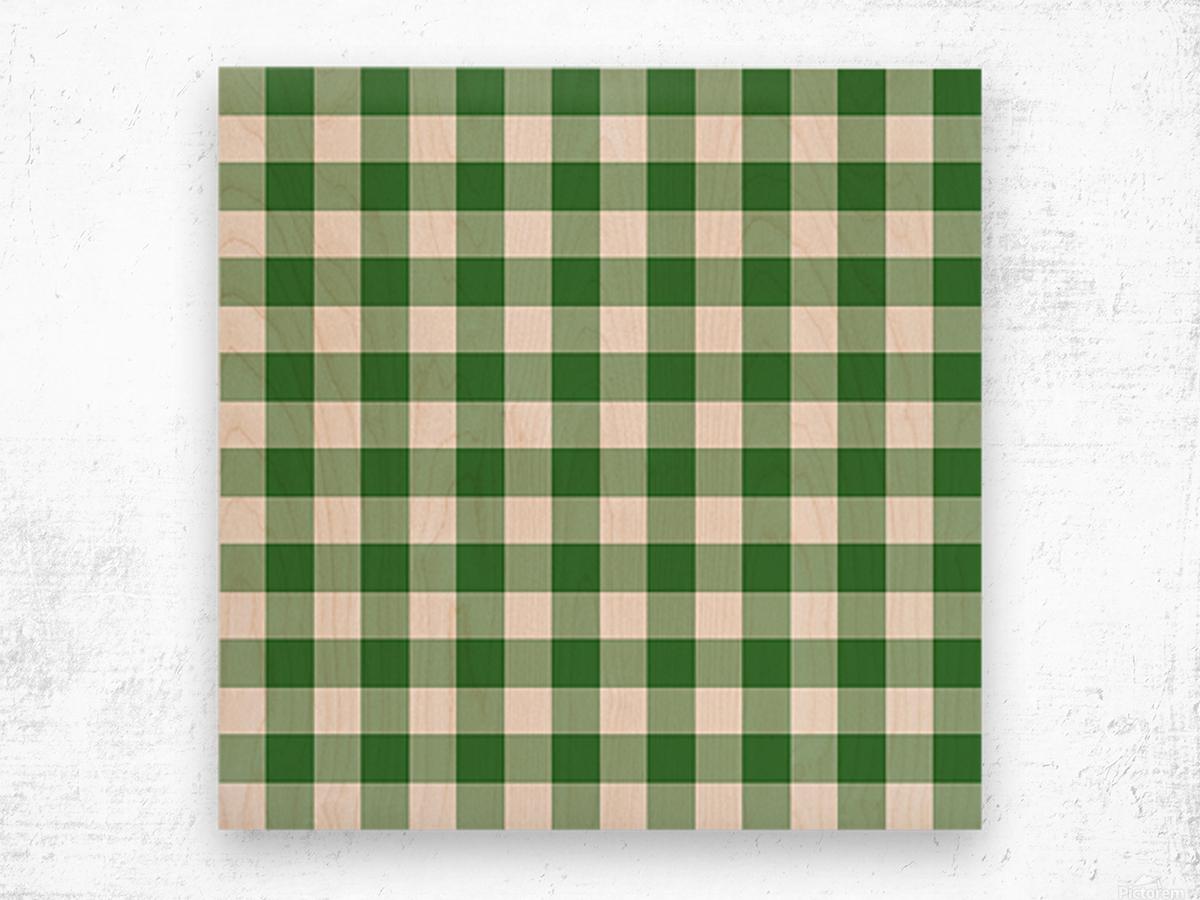 Green Plaid Pattern Wood print