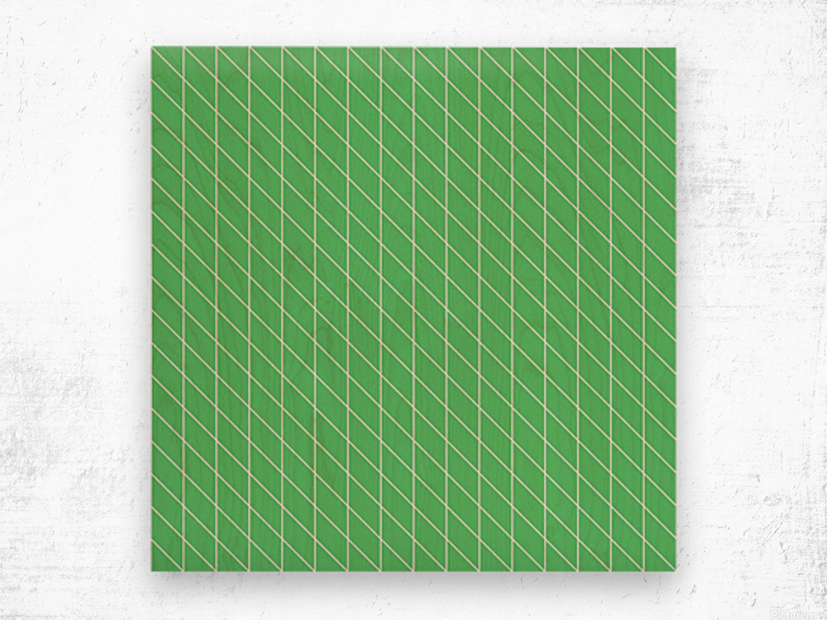 Green Color Checkers Pattern Wood print
