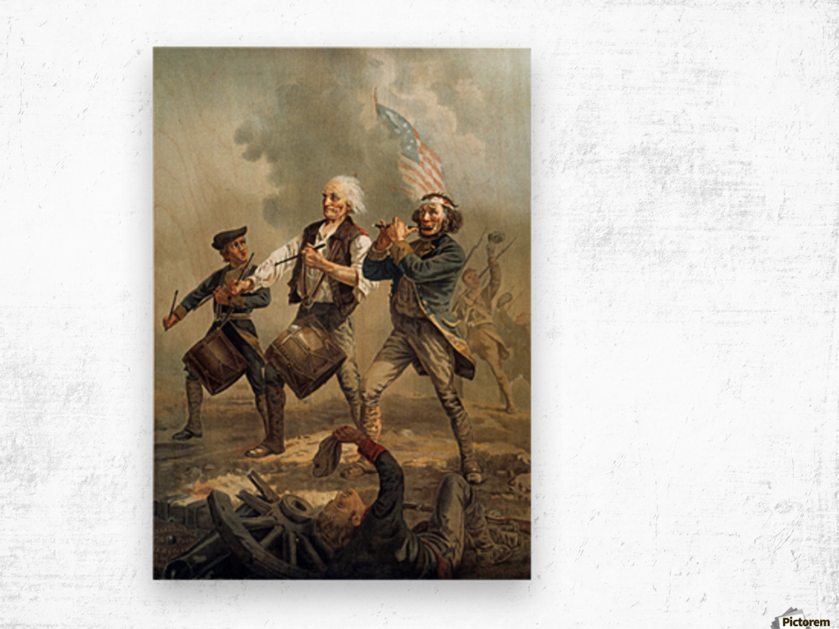 A painting of three men marching through a battle scene Wood print