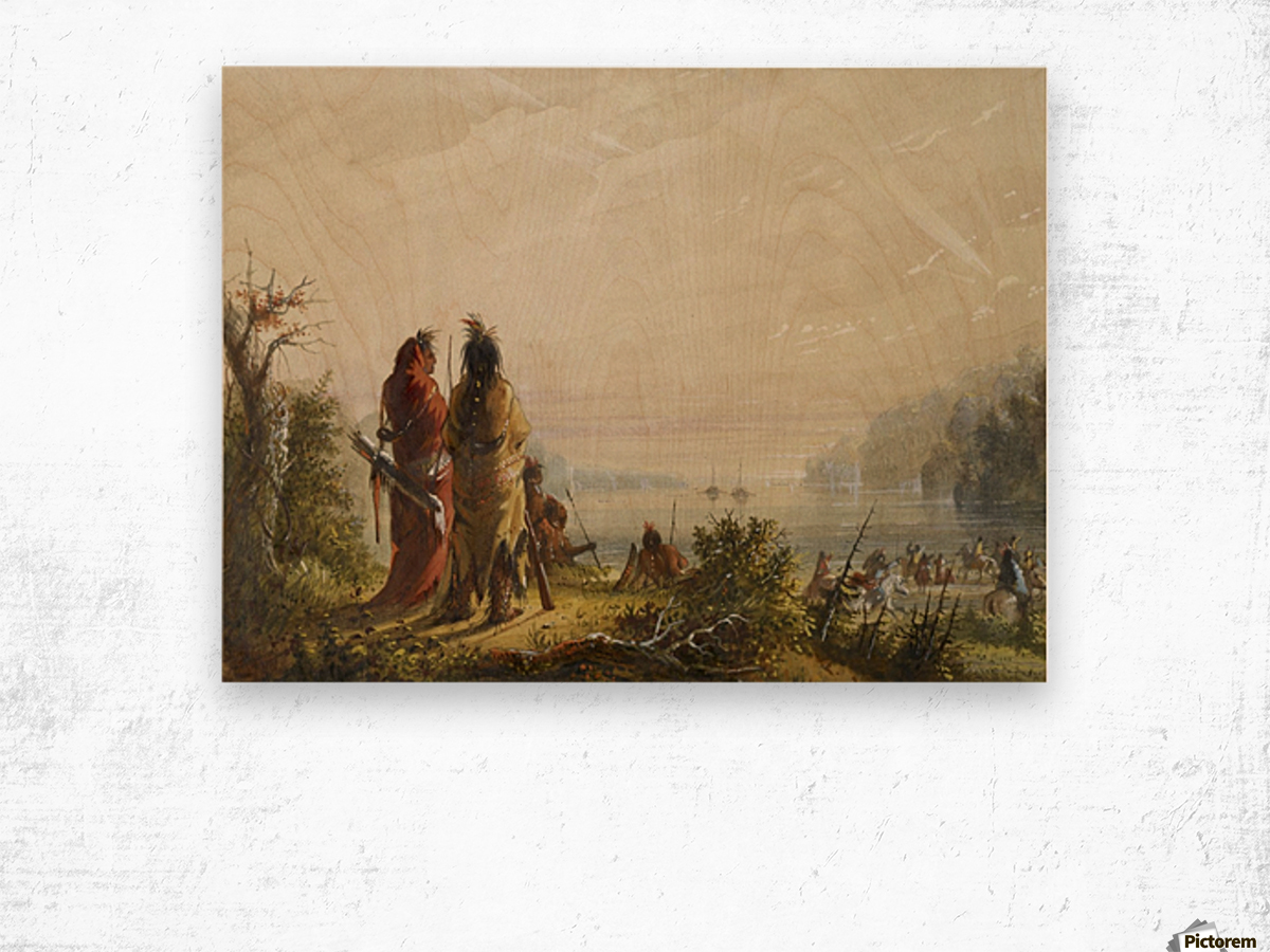 Indians Threatening to Attack Fur Boats Wood print