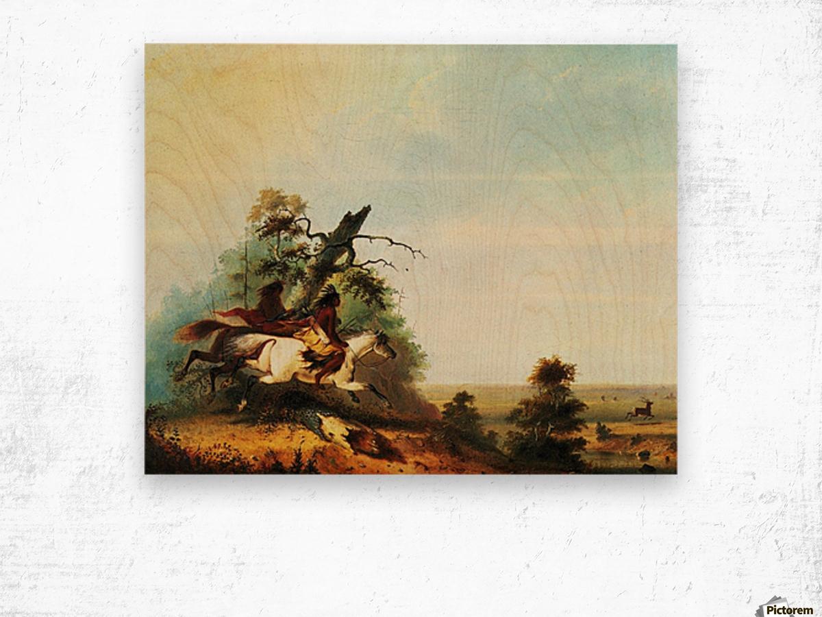 Elk Swimming the Platte Wood print