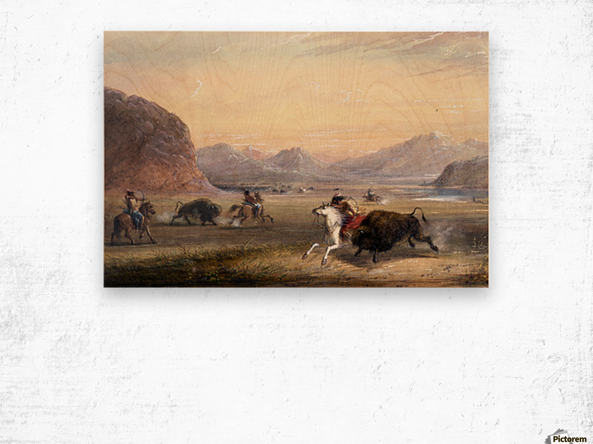 Buffalo Hunting, near Independence Rock Wood print