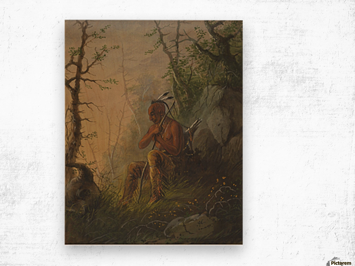Sioux Indian at a Grave Wood print