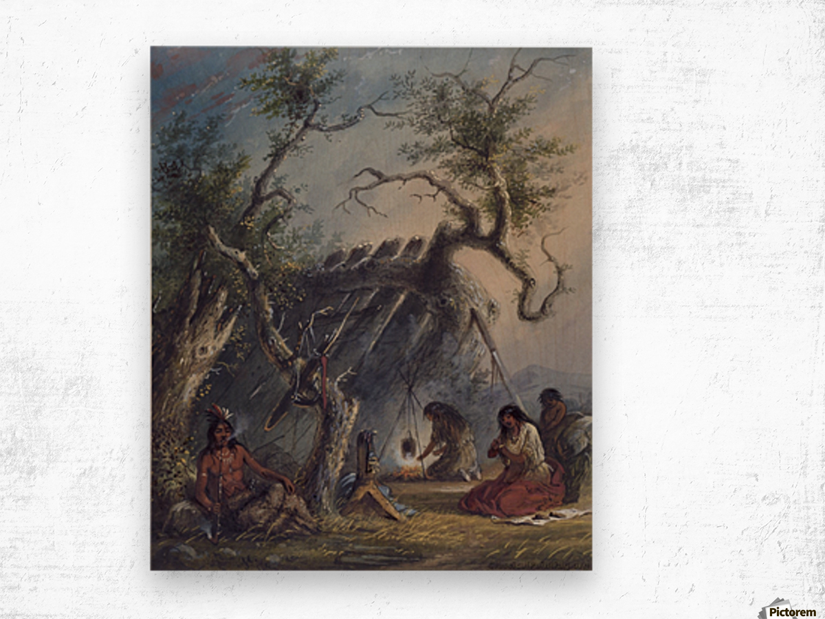 Indian Lodge with figures Wood print