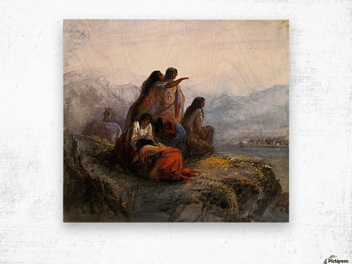 Indian women watching a battle Wood print