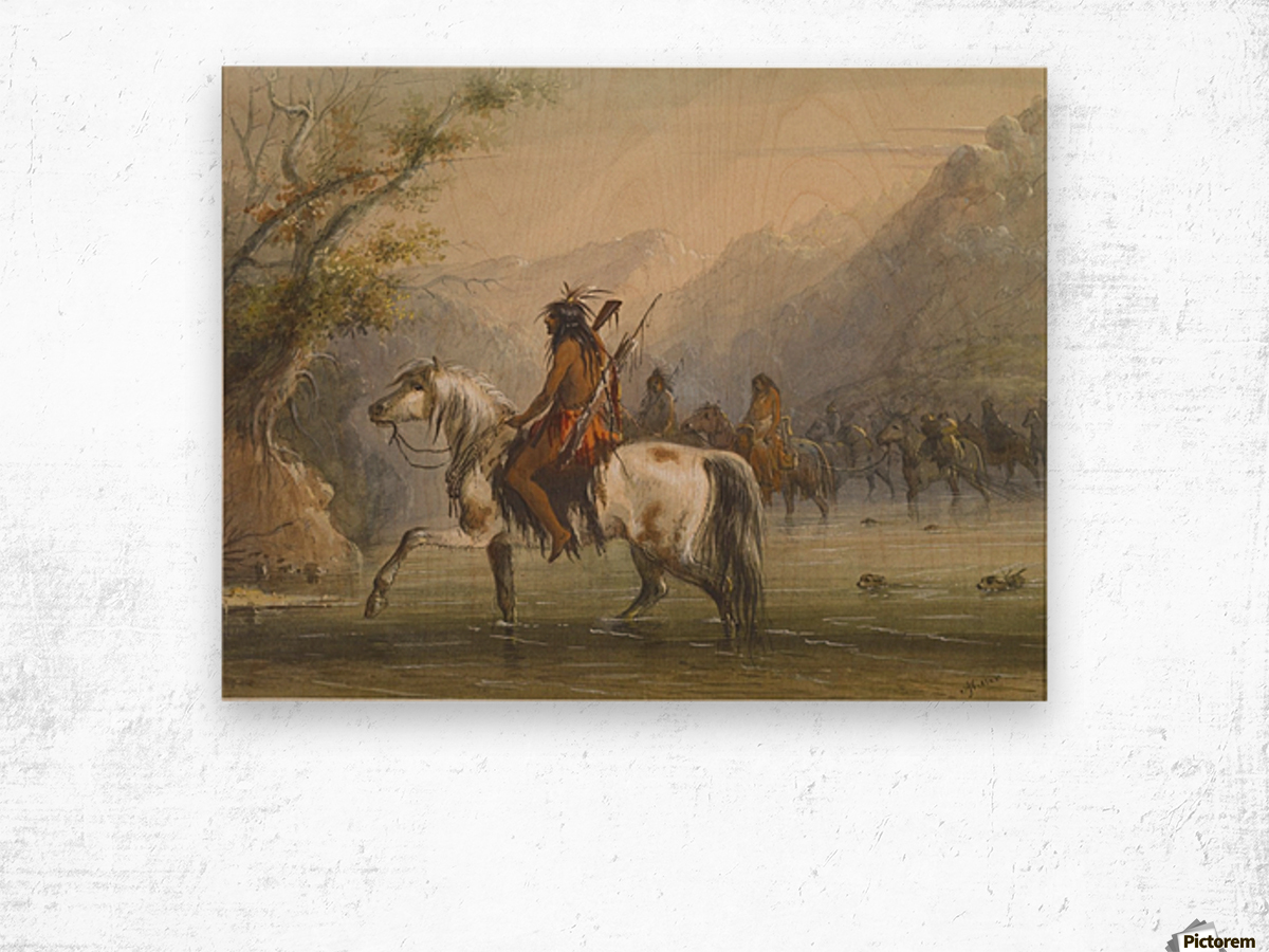 Shoshone Indians - Fording a River Wood print