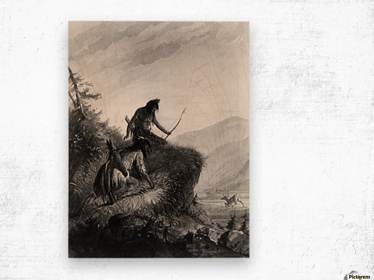 Snake Indians Shooting Elk Wood print