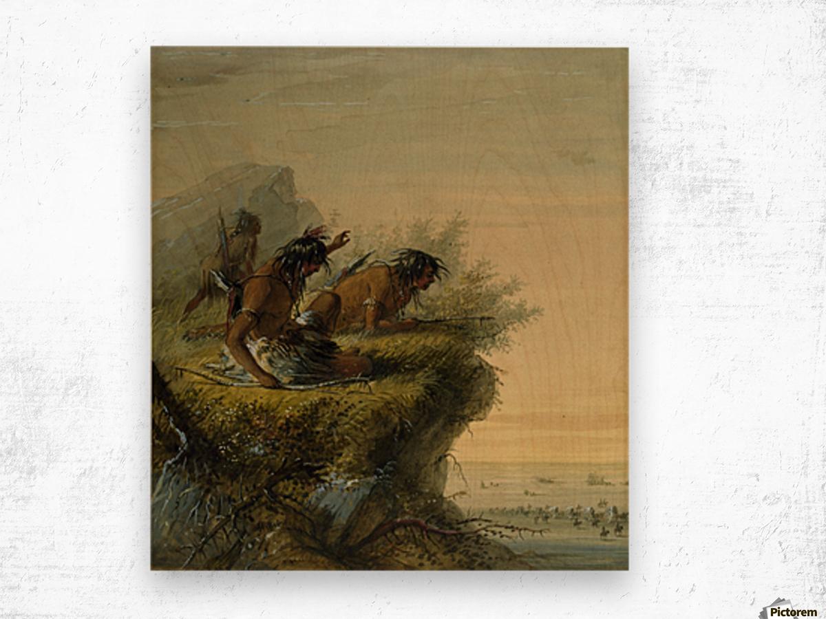 Pawnee Indians watching the Caravan Wood print
