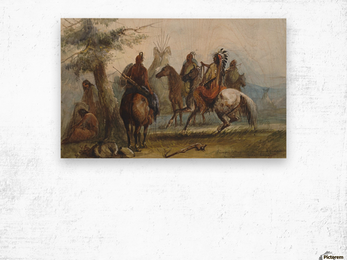 Sioux setting out on an expedition to capture wild horses Wood print