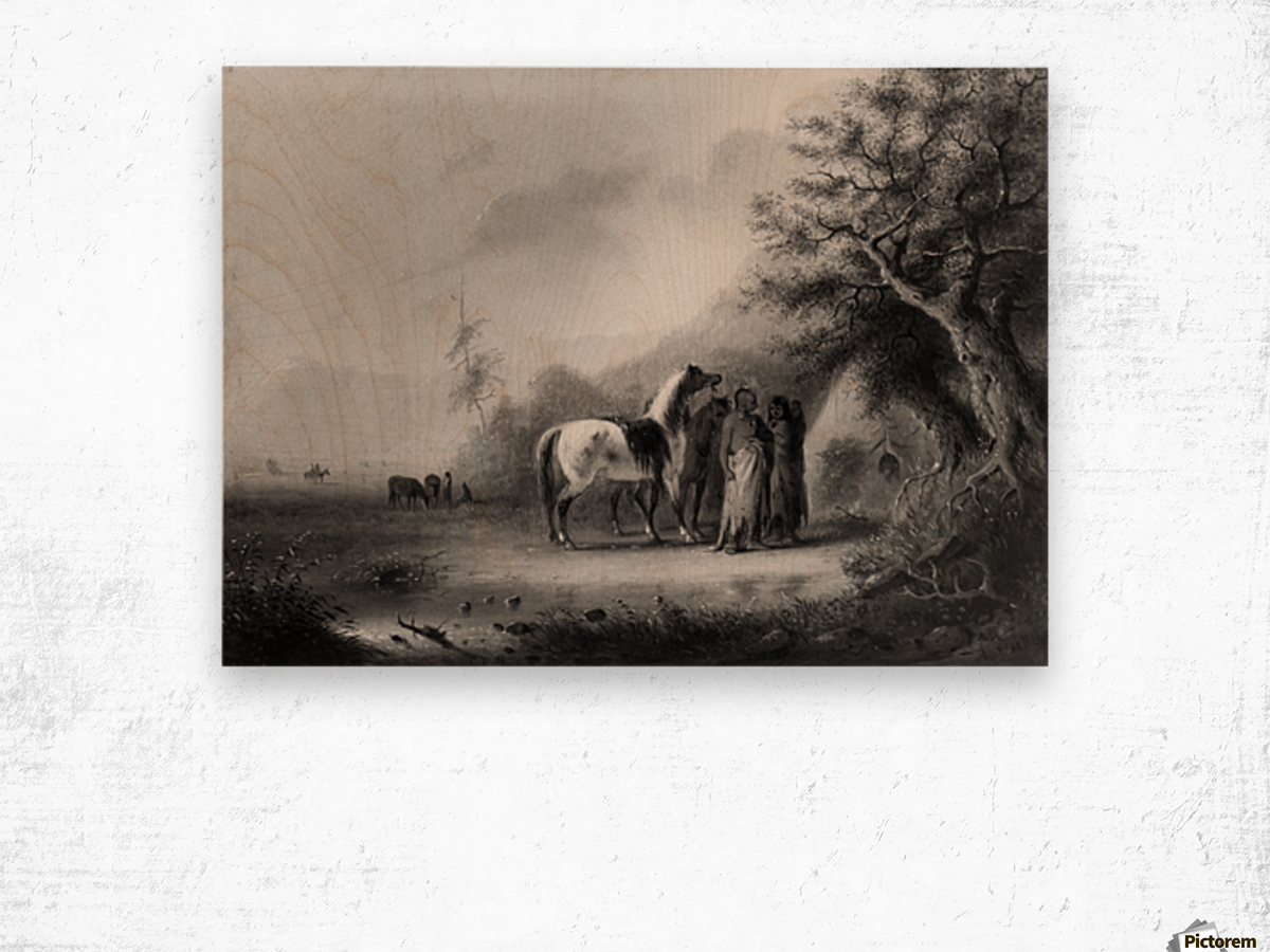 Sioux Indians in the mountains Wood print