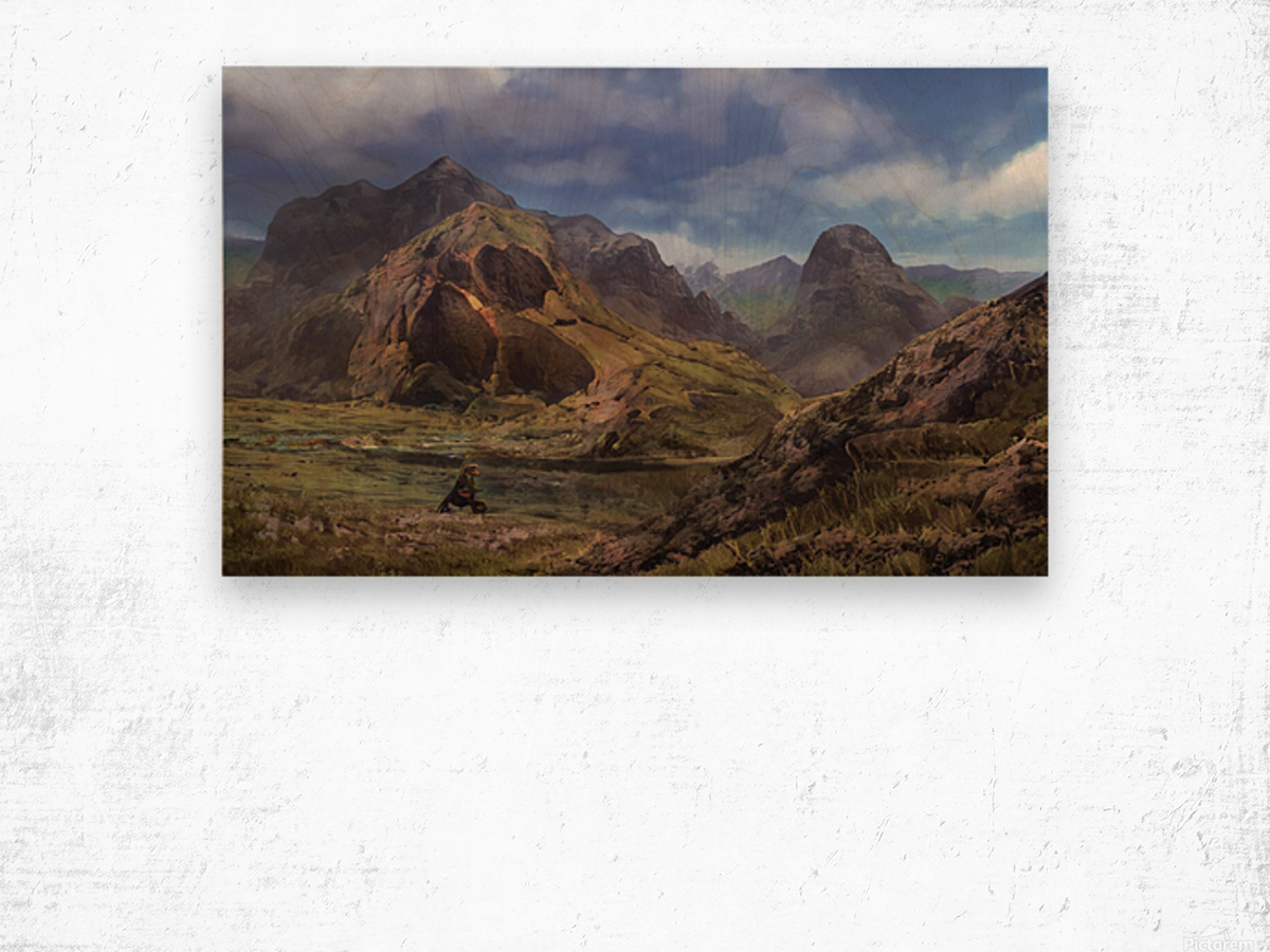 Landscape with giant skull Wood print