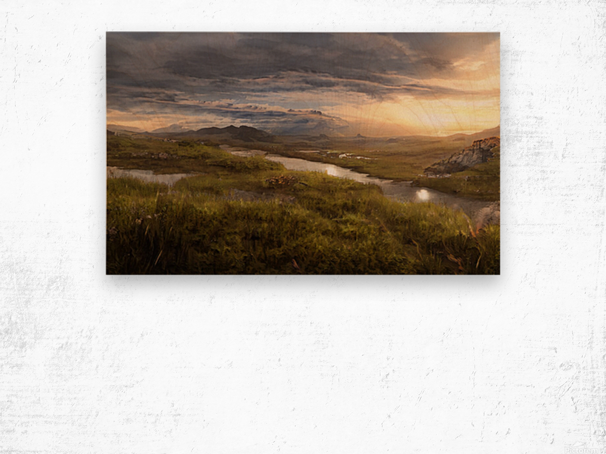 Landscape with river 1 Wood print