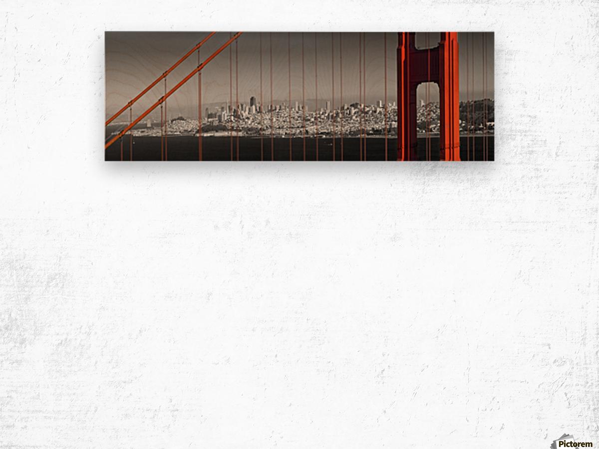 Golden Gate Bridge Panoramic Downtown View Wood print