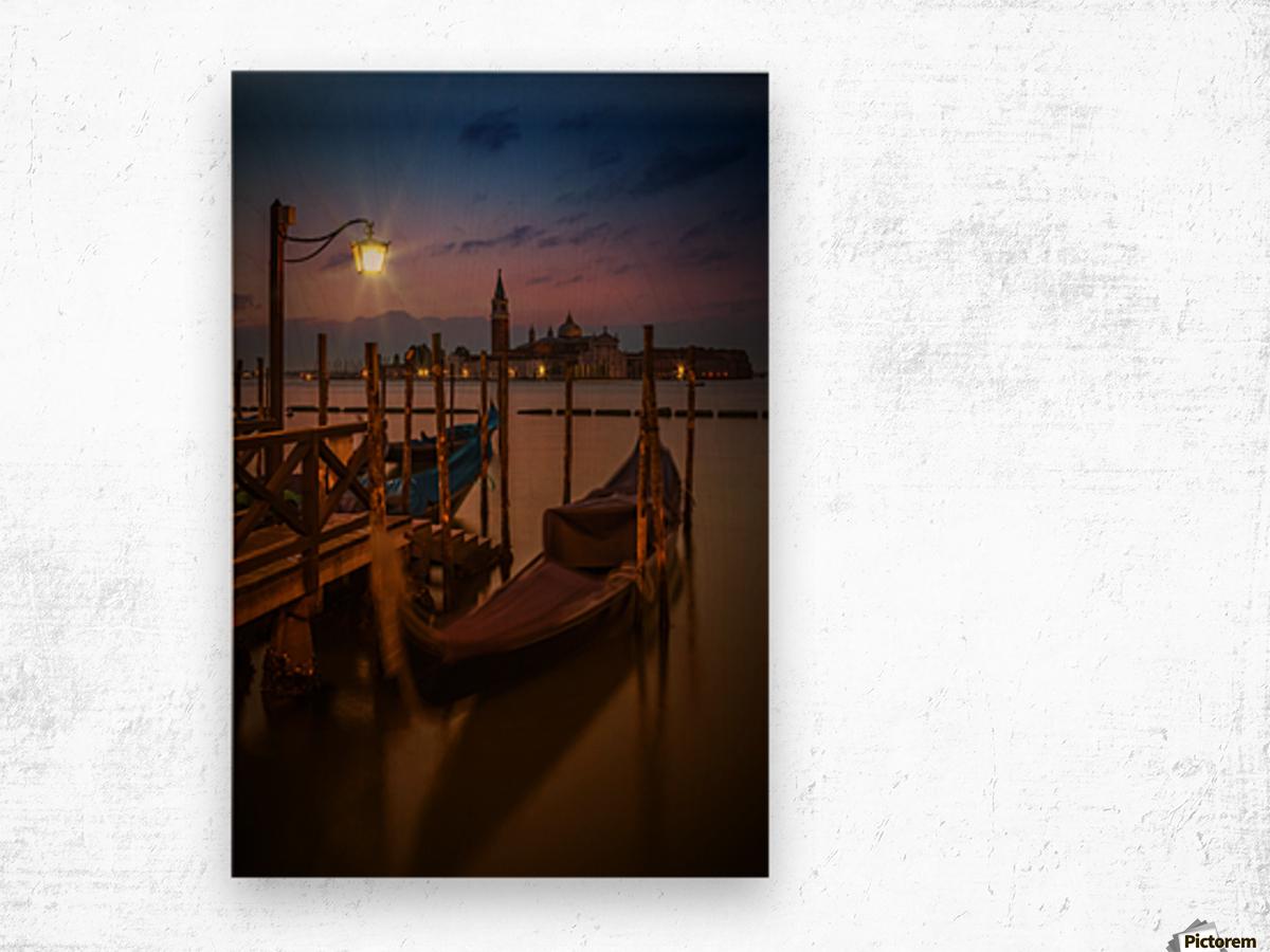VENICE Gondolas during Blue Hour Wood print