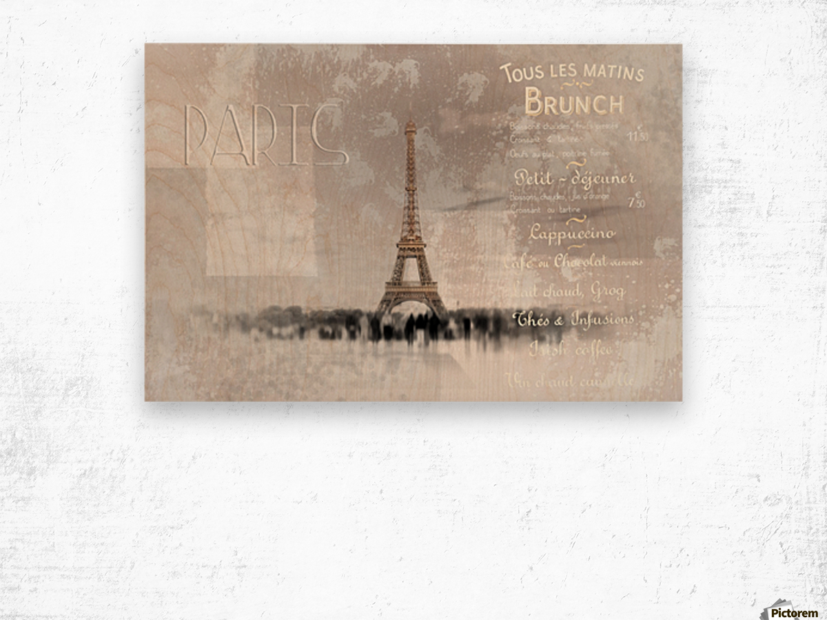 Digital-Art Eiffel Tower II Wood print