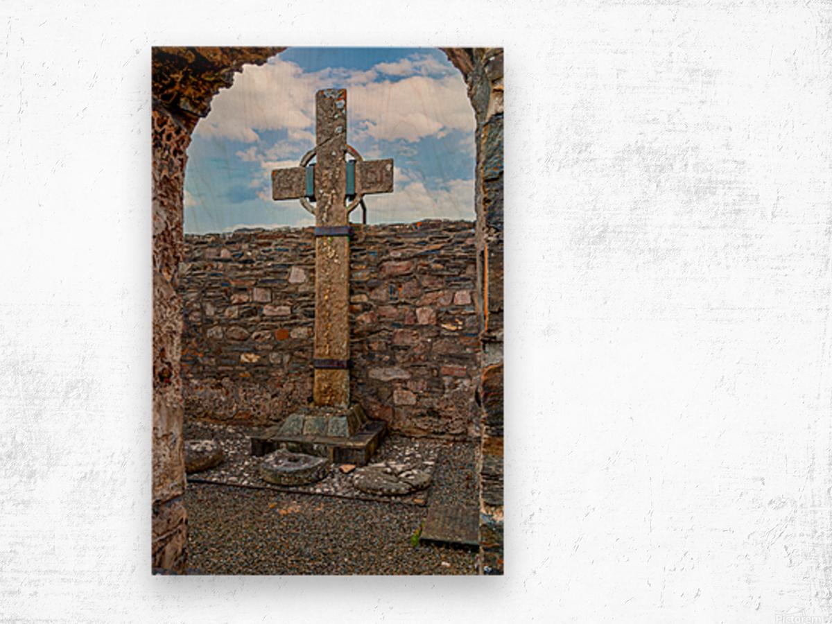 Colmcilles Cross Wood print