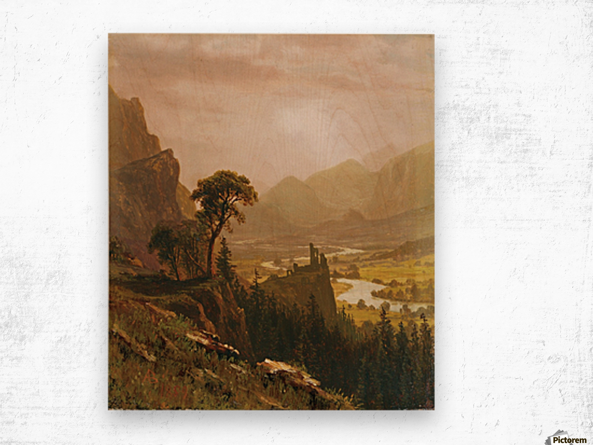 Sunset in the Mountains, 1859 Wood print