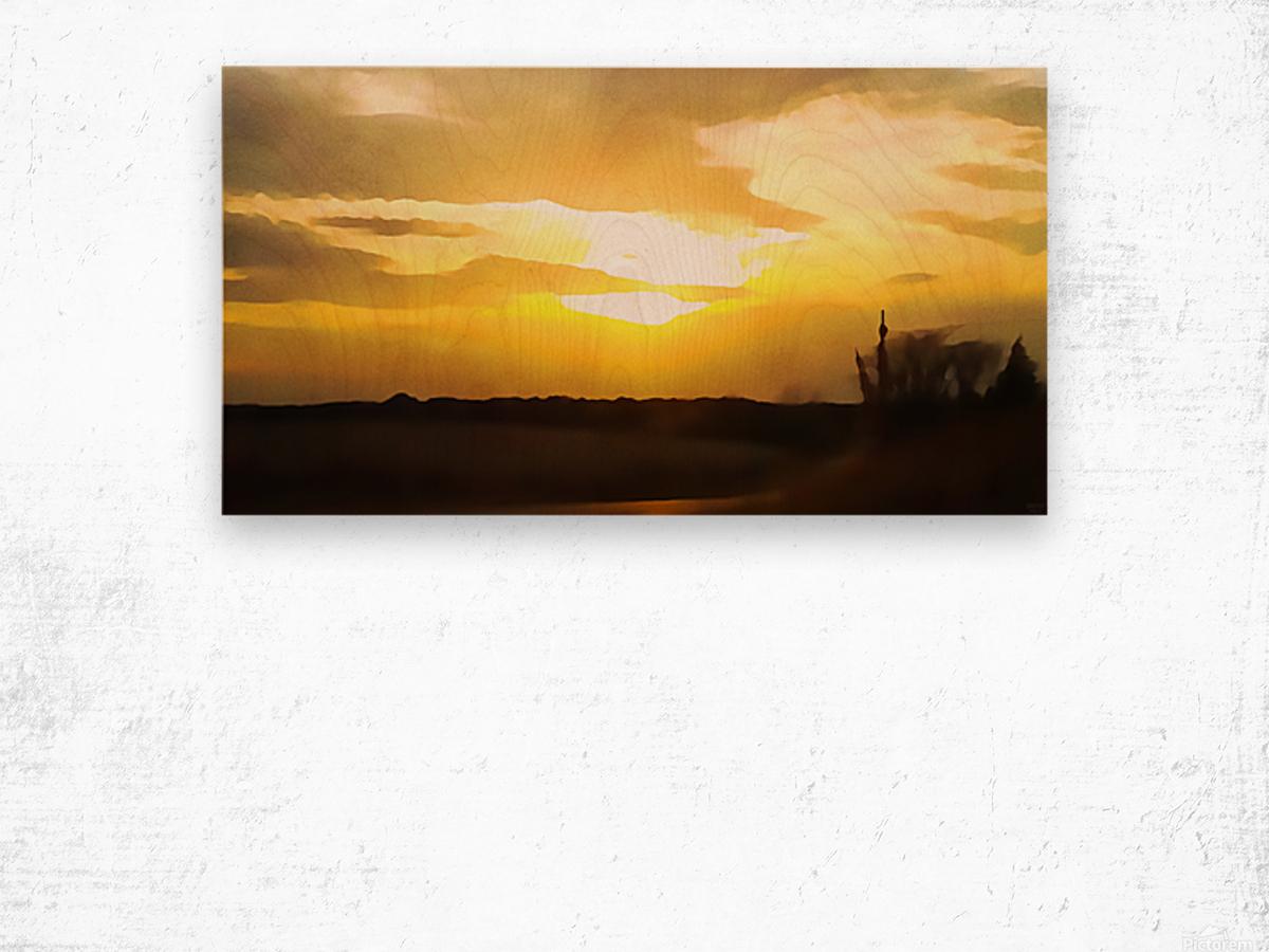 golden evening Wood print