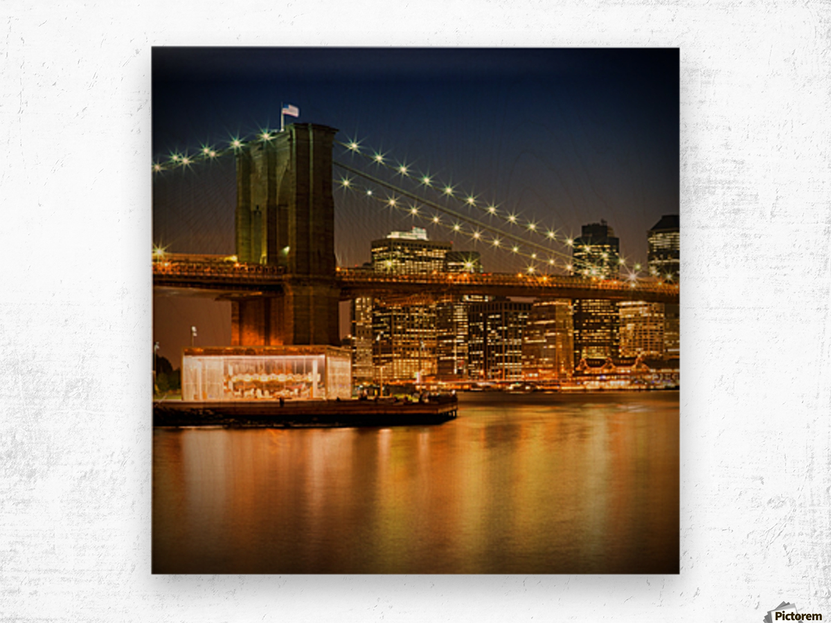 Night-Skylines NEW YORK CITY Wood print