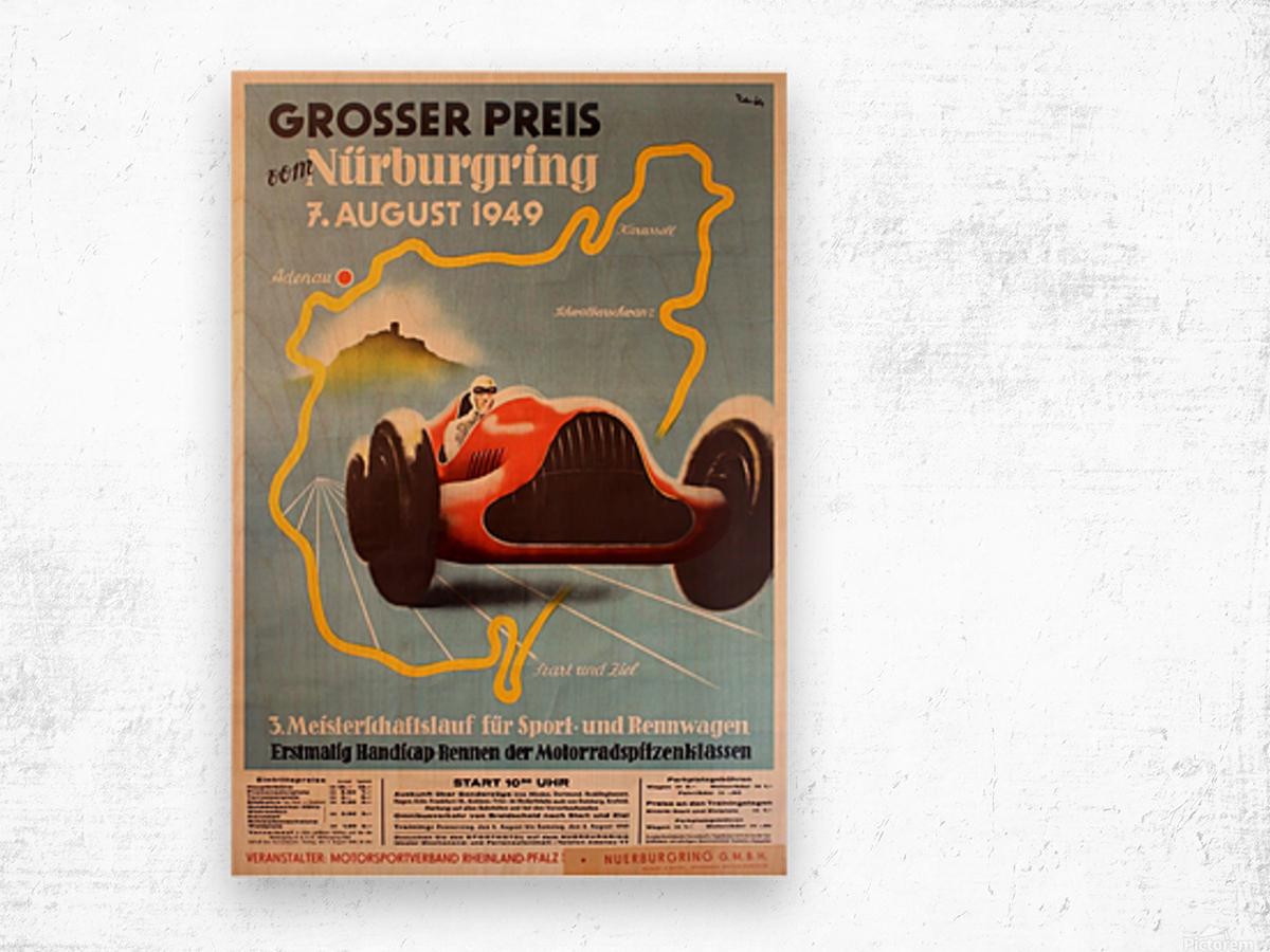 Original Vintage Sports Car Racing Poster for the 1949 Nurburgring Grand Prix Wood print