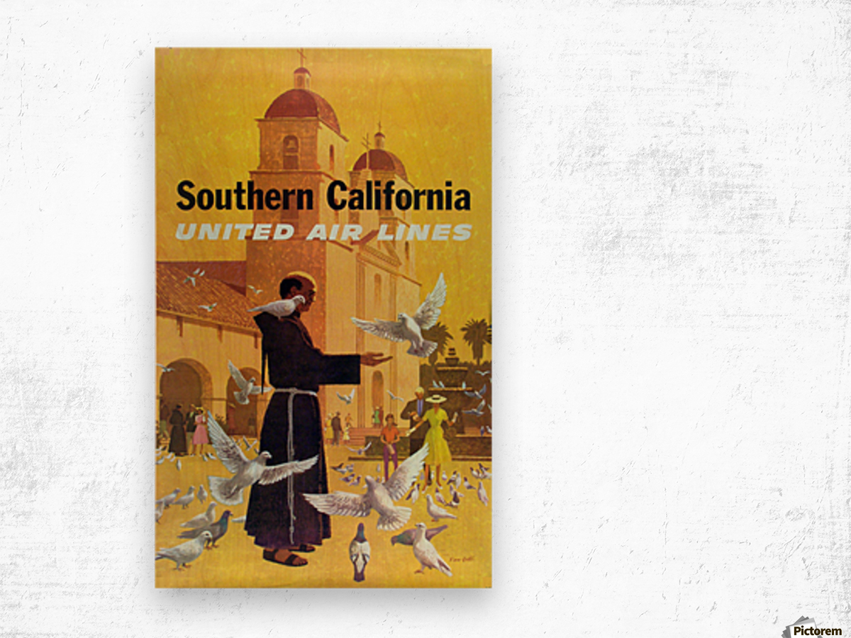 United Air Lines Southern California Monk Wood print