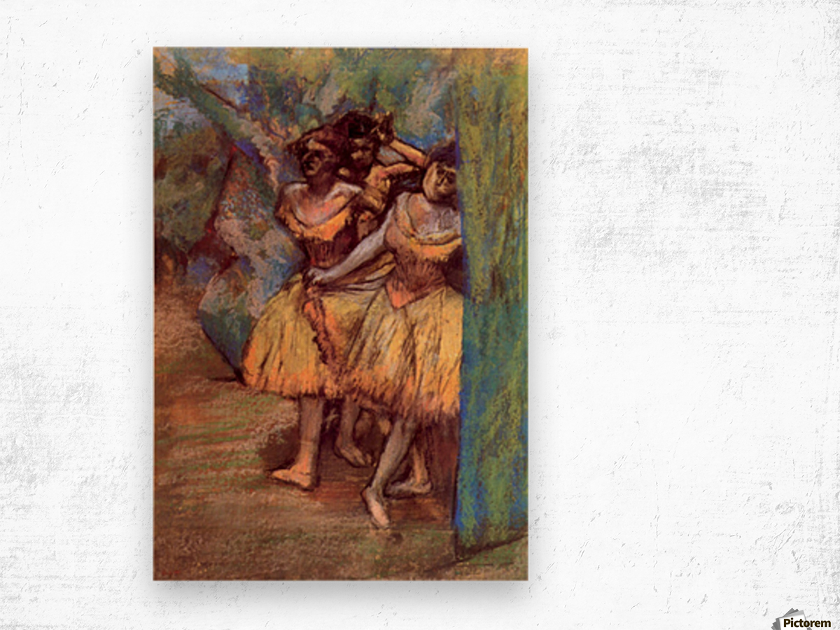 Three dancers behind the scenes by Degas Wood print