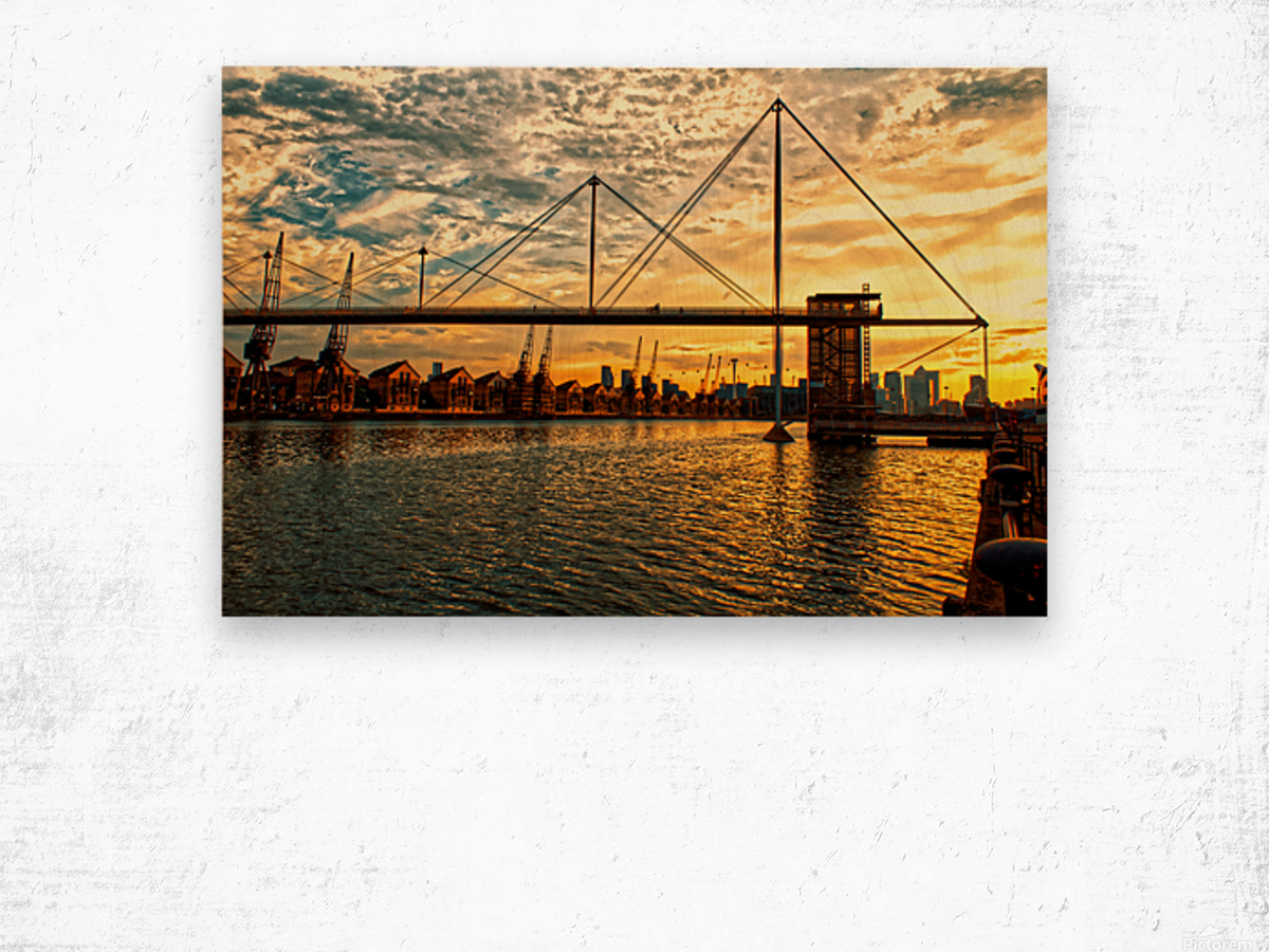 Amazing Sunset over river Wood print