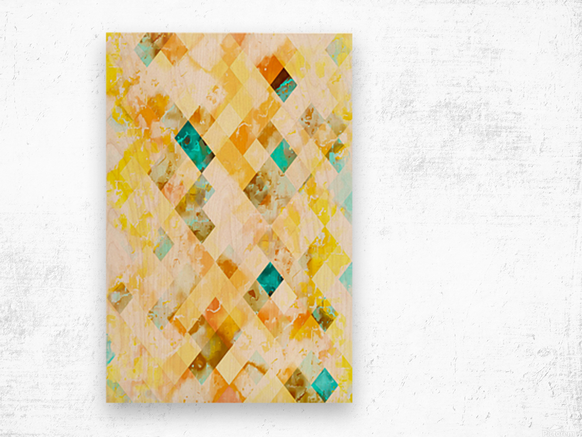 geometric pixel square pattern abstract in yellow brown blue Wood print