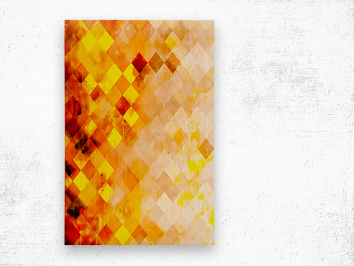 geometric pixel square pattern abstract in brown and yellow Wood print