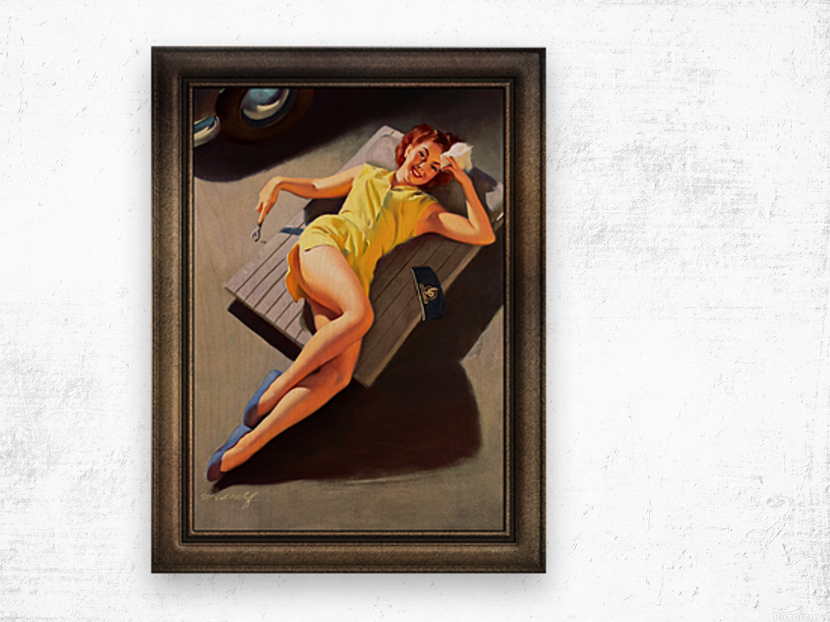 Permite Mechanic Pin-up Girl by Bill Medcalf Vintage Art Wood print