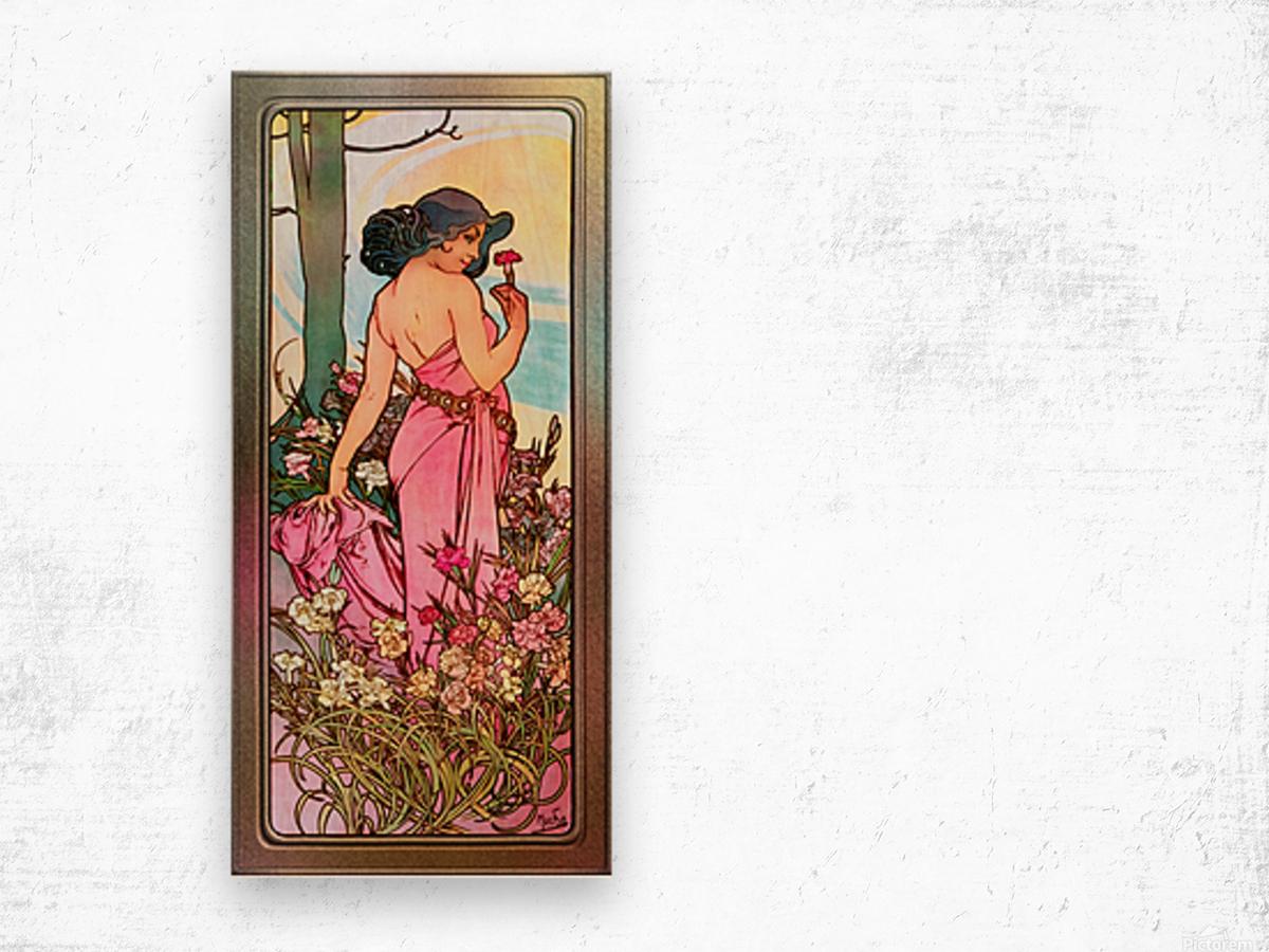 Carnation Art Nouveau Portrait by Alphonse Mucha Vintage Old Masters Art Nouveau Reproduction Wood print