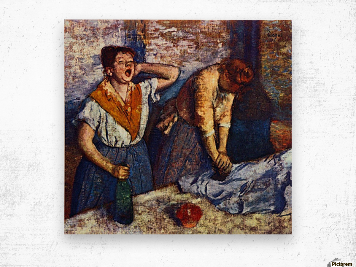 Two cleaning women by Degas Wood print