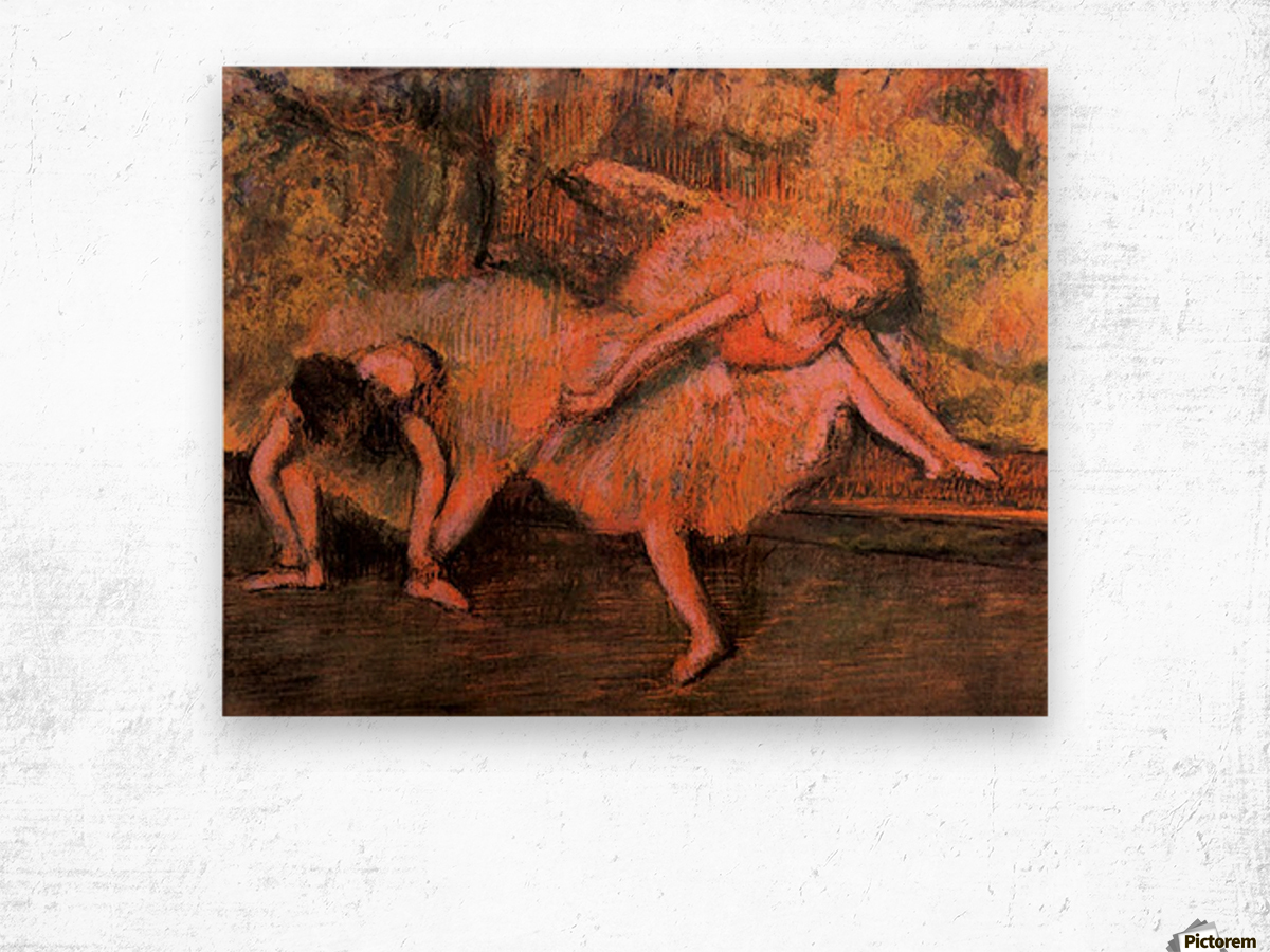 Two dancers on a bank by Degas Wood print