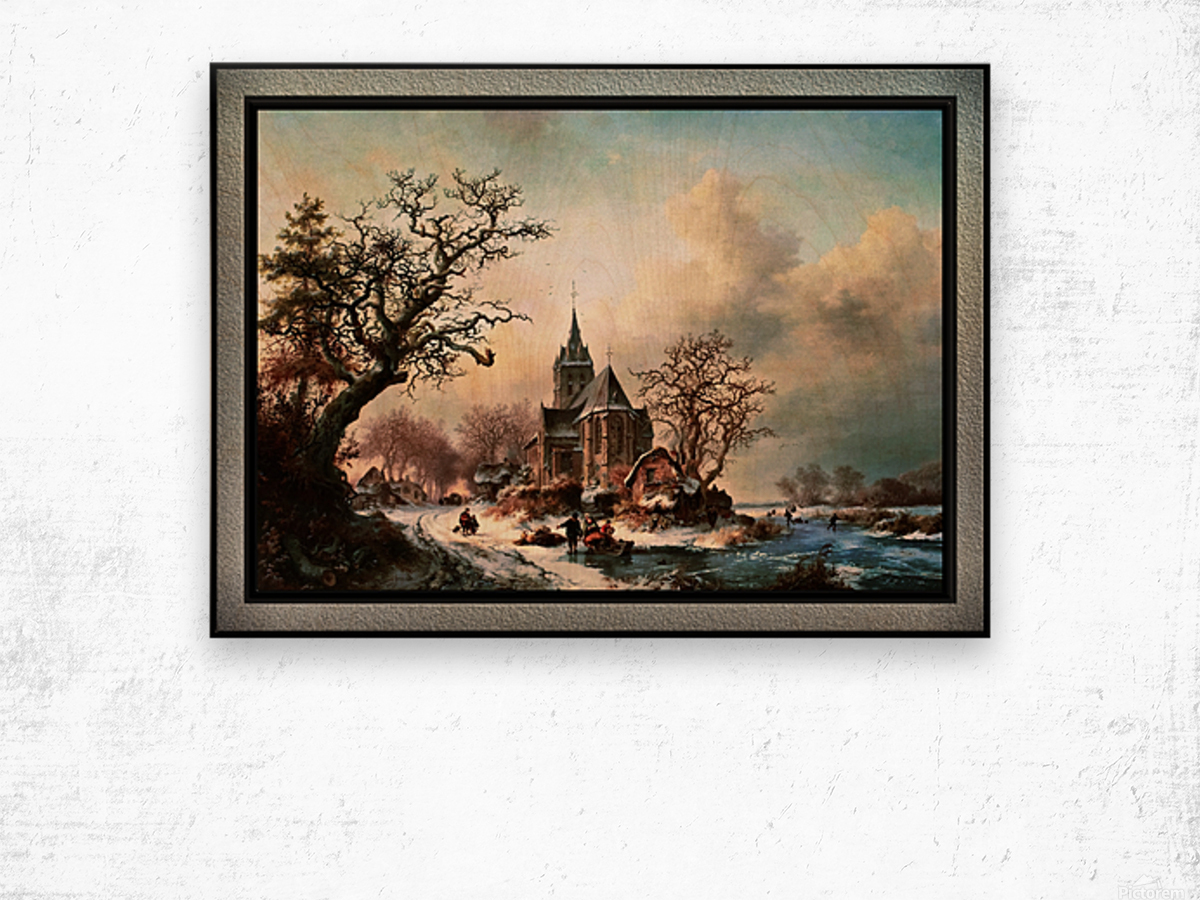 Winter Landscape with Activities by a Village by Frederik Marinus Kruseman Old Masters Classical Fine Art Reproduction Wood print