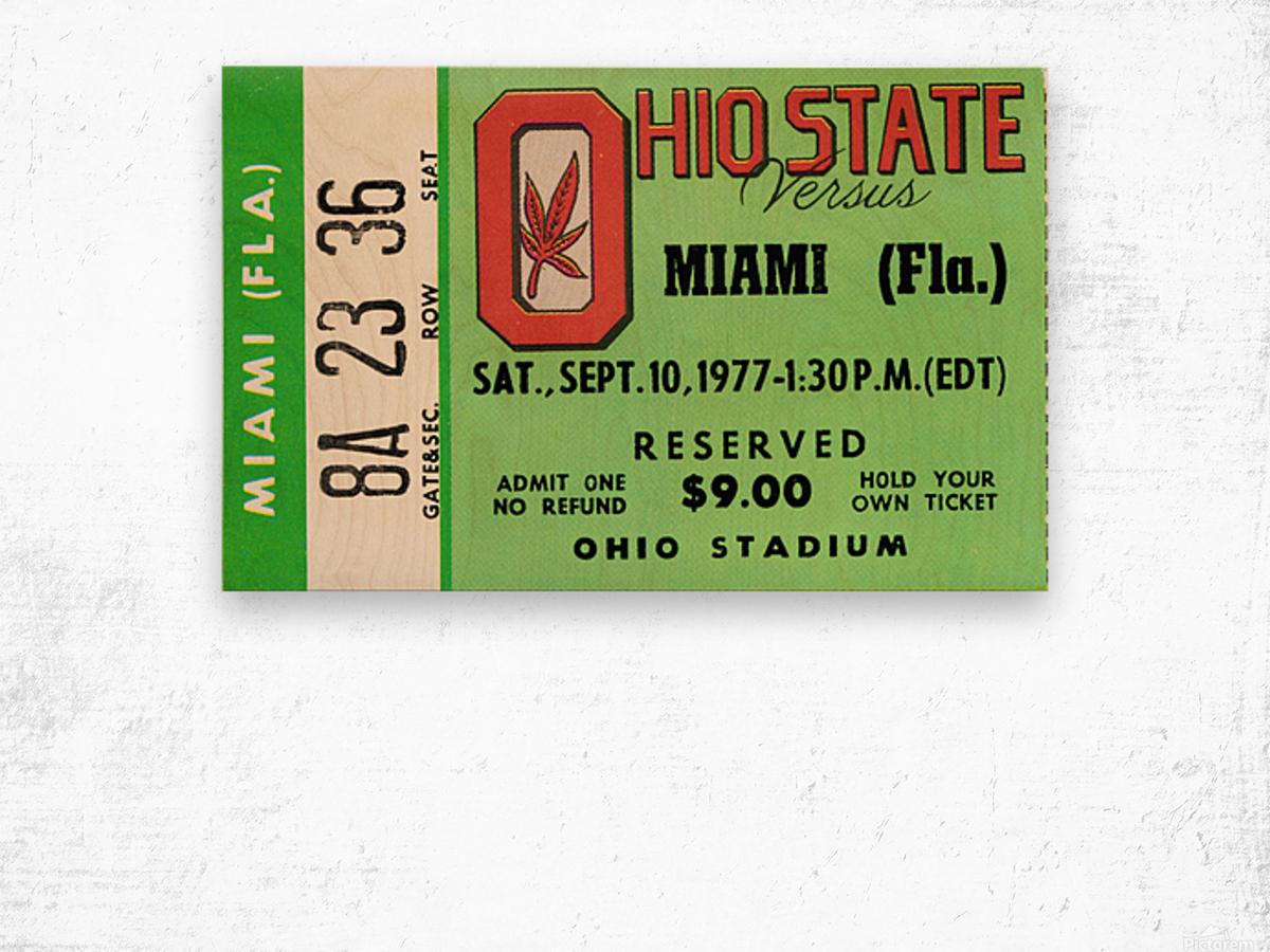 1977 Miami Hurricanes vs. Ohio State Football Ticket Canvas Wood print