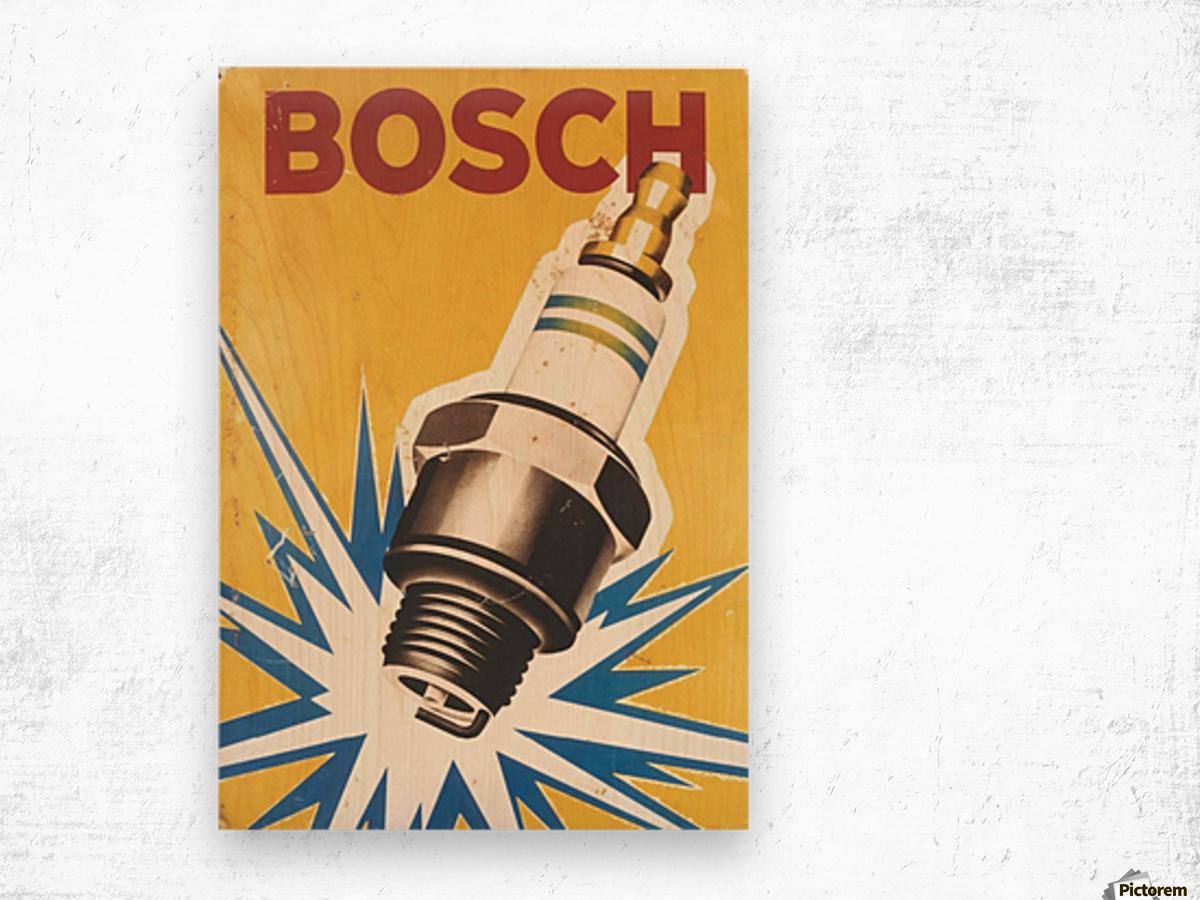 Vintage Bosch Spark Plug Automobile Wood print