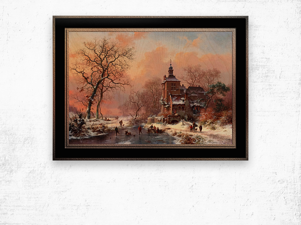 Winter Landscape with Skaters on a Frozen River by Frederik Marinus Kruseman Fine Art Old Masters Reproduction Wood print