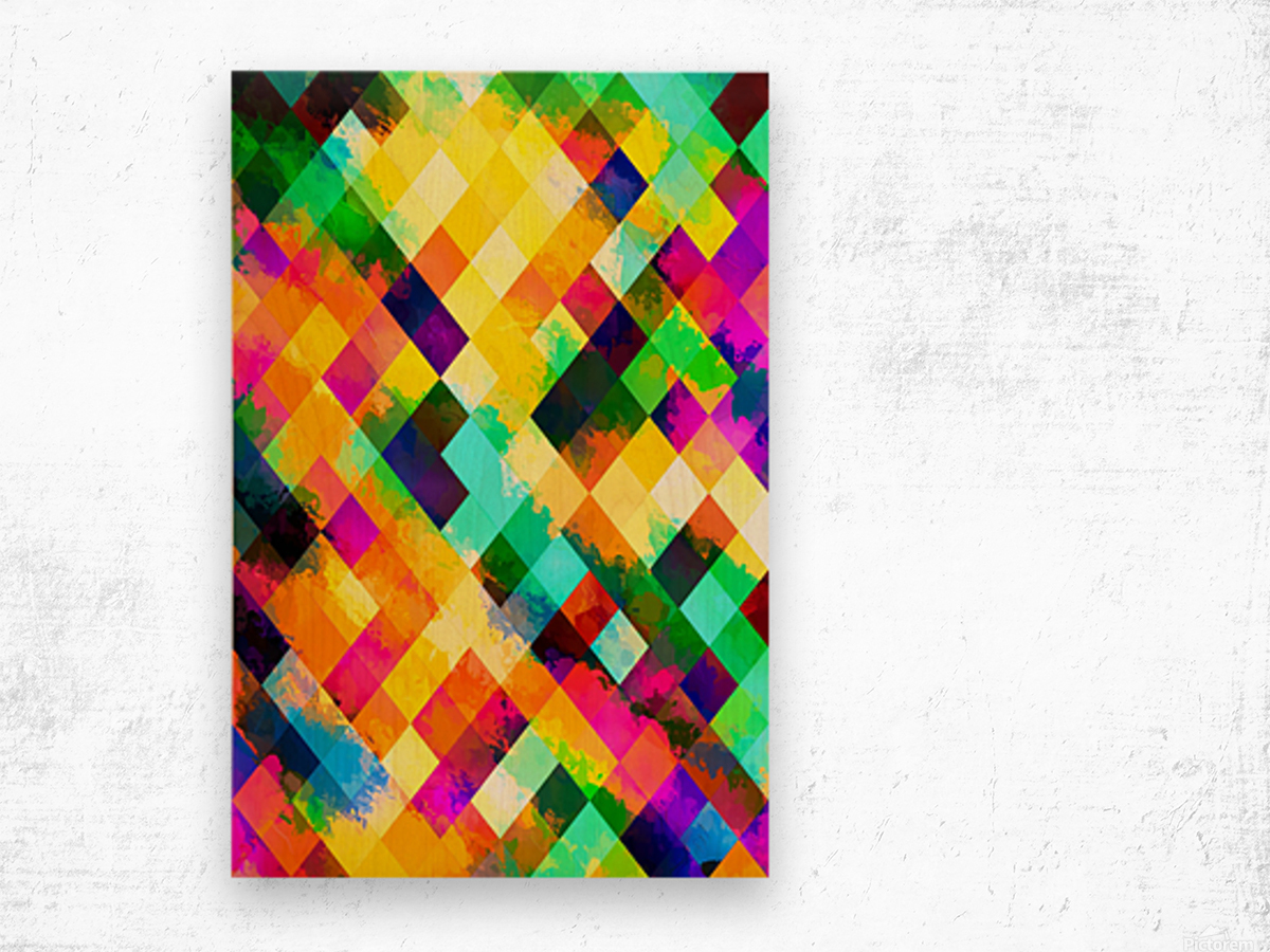 geometric square pixel pattern abstract background in yellow blue green pink orange Wood print