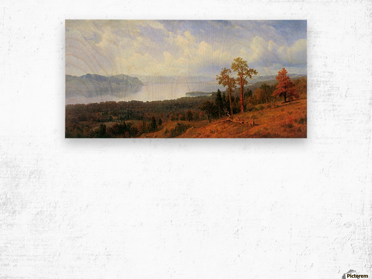 View of the Hudson River Vally by Bierstadt Wood print