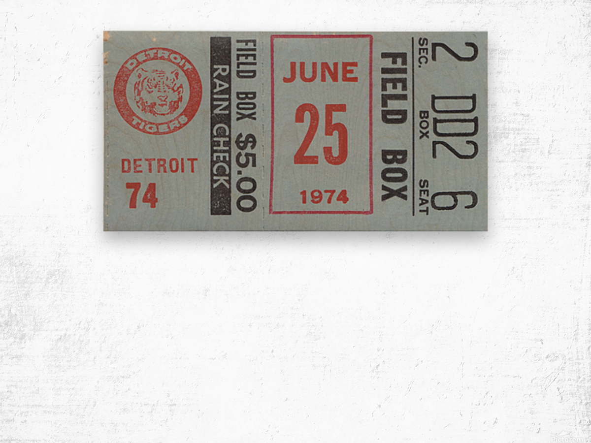 1974 Detroit Tigers Field Box Ticket Wood print