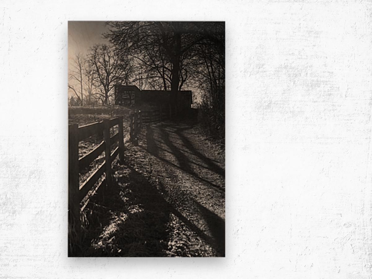 Barn at Sunset Wood print