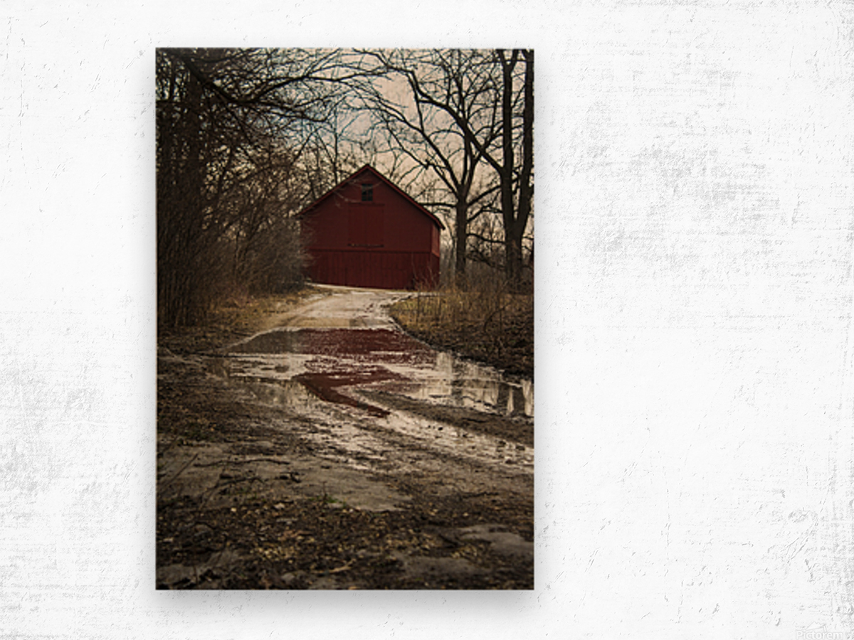 Travel to the Red Barn Wood print