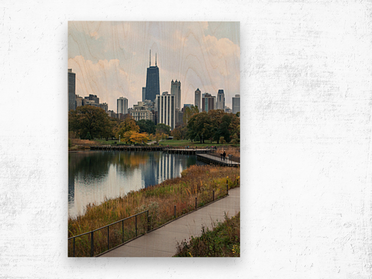 Hancock Over Lincoln Park Wood print