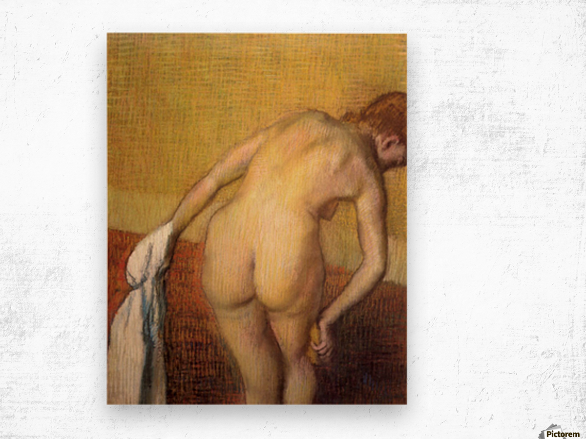 Woman Drying with towel and sponge by Degas Wood print