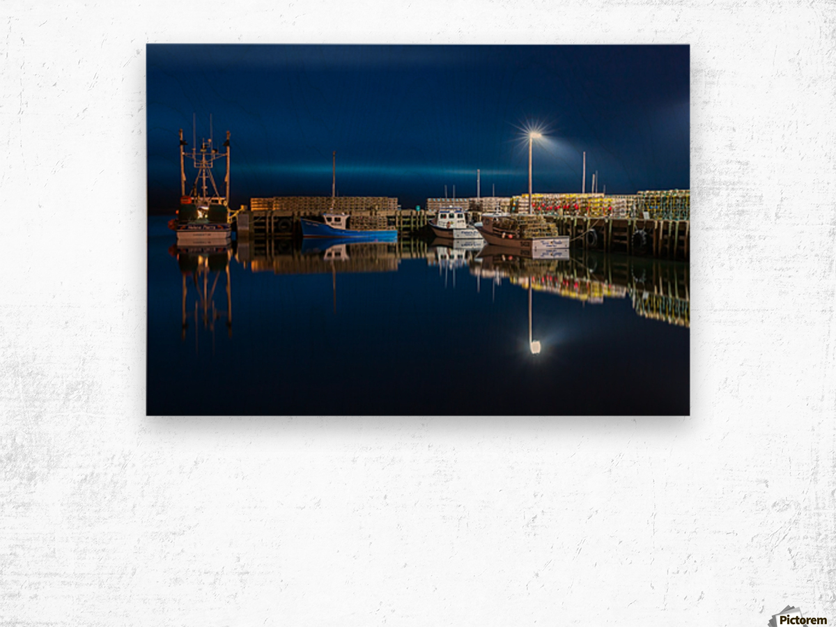 Night Time at the Wharf Wood print