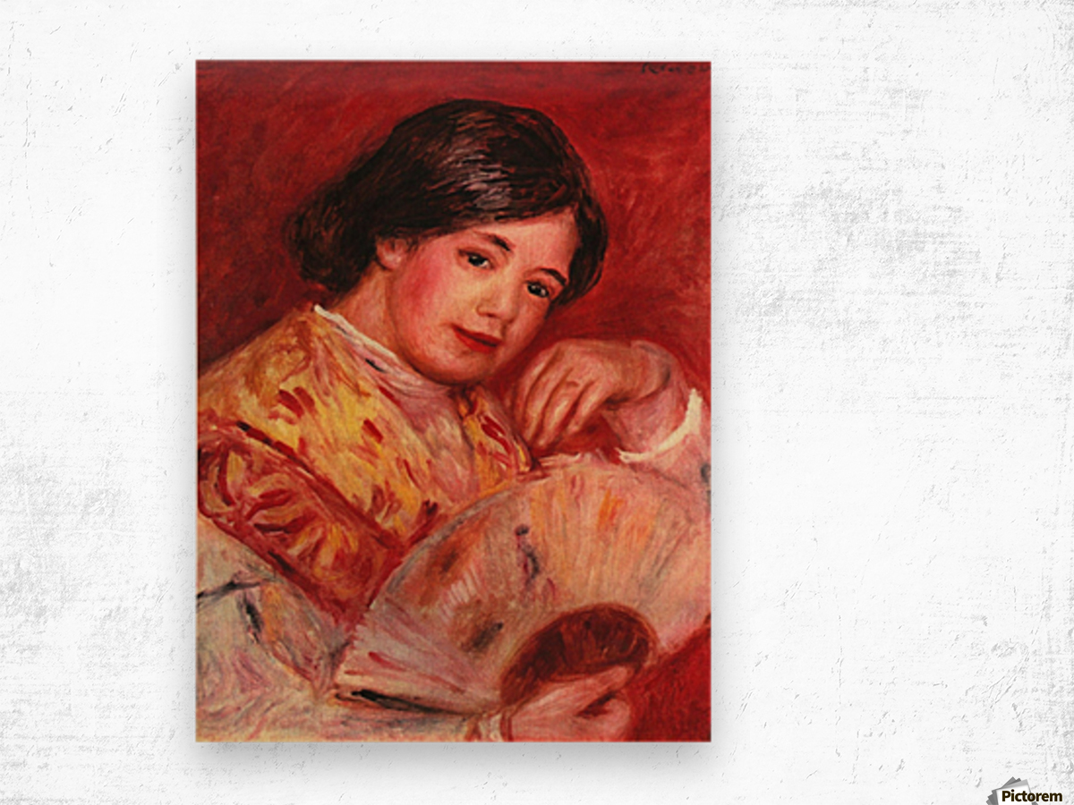 Young girl with fan by Renoir Wood print